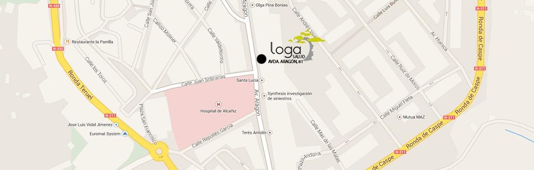Mapa localización dirección loga salud Alcañiz